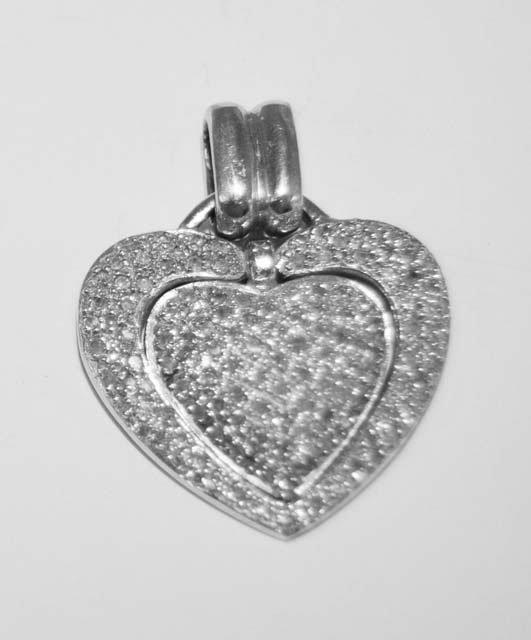 """1015: 14kt white gold & diamond """"Heart"""" pendant"""