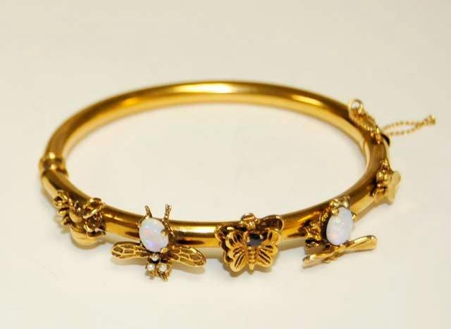 1023: 14kt gold, opal & seed pearl bracelet
