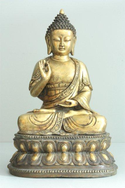 """1519: Massive Chinese gilt bronze of """"Seated Amitayus"""""""