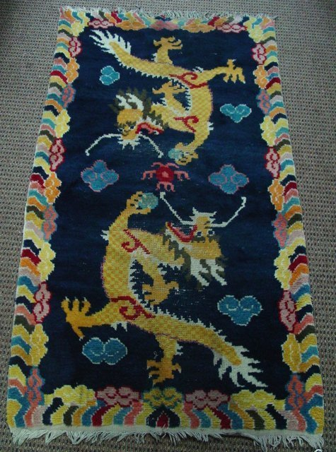 "3: Antique Peking scatter rug with ""Dragon"" design"