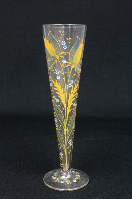 31: Enamelled & handpainted glass vase