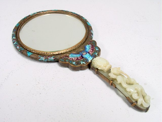 574: 19th c. Chinese enamel & jade marriage mirror