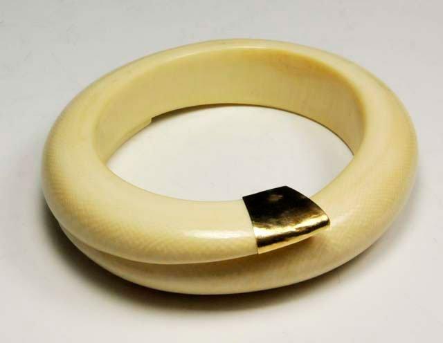 1001: 14kt gold & bone large bangle bracelet