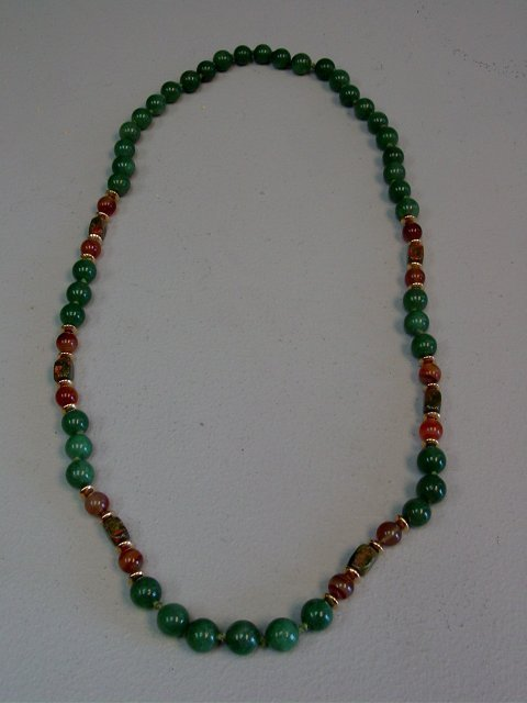 1001A: 14kt gold & jade long necklace