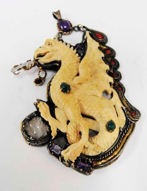 1003: Antique bone, silver & jeweled pendant