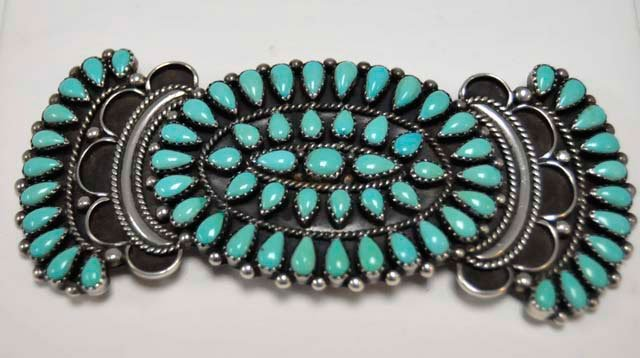 """1005: Turquoise pin artist signed """"Y & R Charley"""""""