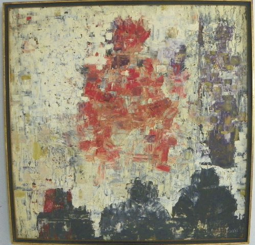 1160: Abstract oil painting signed Tomas de La Tierra