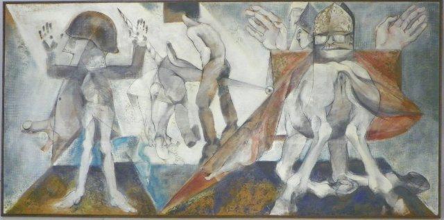 1173: Mixed media abstract signed Harold Rubin
