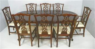 1289: Dining room table & 8 Chippendale style chairs