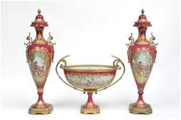 Early 20th c. 3 pc. Sevres handpainted console se