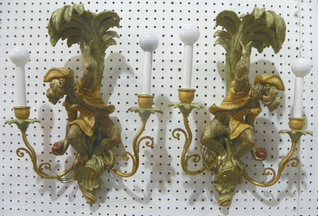 """1460: Pair """"Monkey"""" sconces made in Italy"""