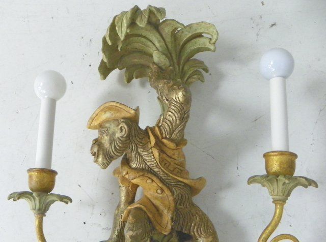 """1460: Pair """"Monkey"""" sconces made in Italy - 4"""