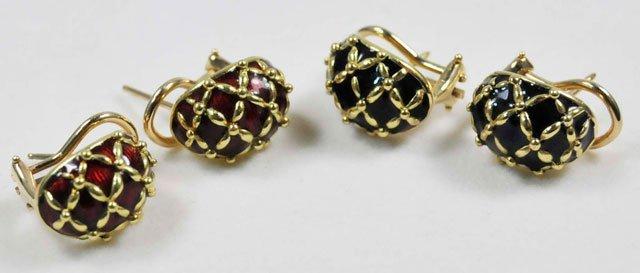 1015X: 2 pair 18kt gold & enamel earrings