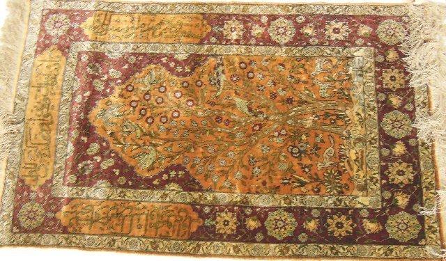 "11: Turkish Hariki silk ""Tree of Life"" rug"