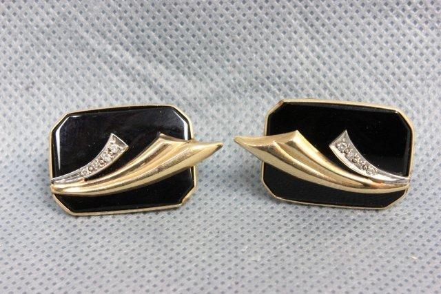 1002: Pair 14kt gold, onyx & diamond earrings