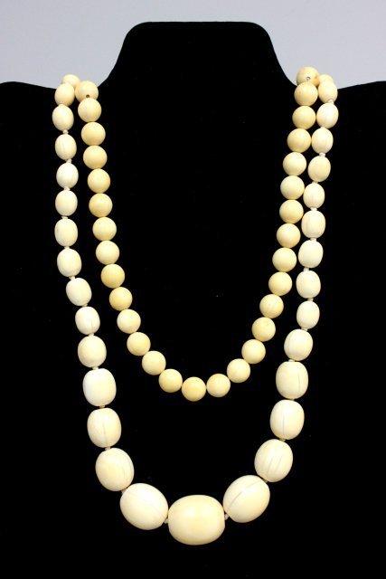 1021: 2 Victorian bone beaded necklaces