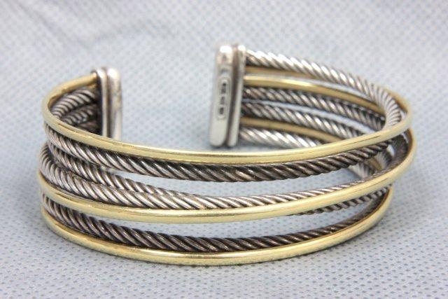 1024: 18kt gold David Yurman cuff bracelet