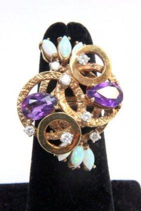 2000: 14kt gold amethyst, opal & diamond cocktail ring