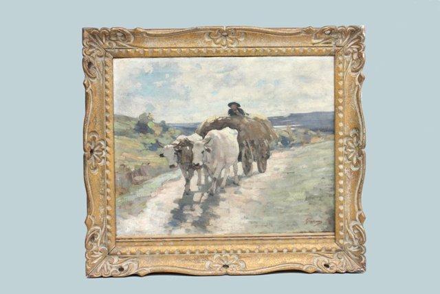 "2297: Oil on canvas by Nicolae Grigorescu ""Bull Cart'"