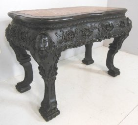 2493: Carved Chinese teakwood table