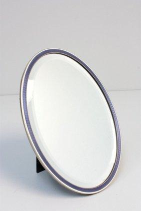 2022X: Austrian silver enamel framed mirror