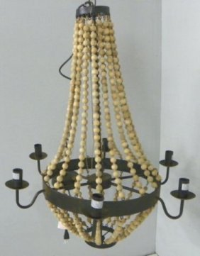 Beaded 6 Arm Chandelier