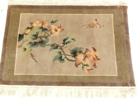 Chinese wool & silk picture rug
