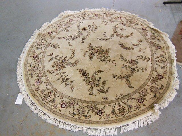 Handmake round silk & wool rug