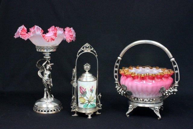 2 Bridal baskets & crystal pickle cannister