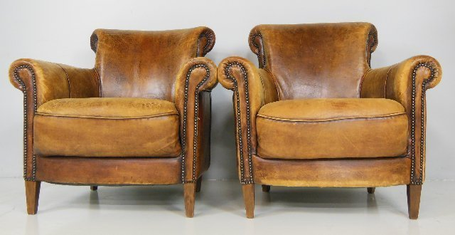 Pair French brown leather chairs