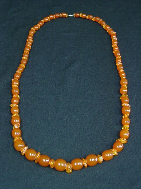 Large amber bead necklace