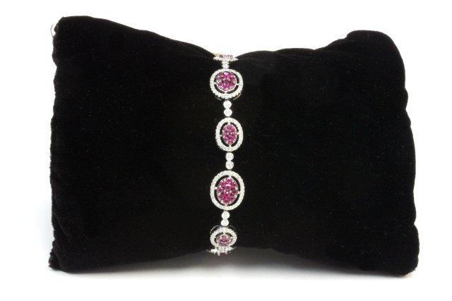 14kt white gold, diamond & ruby bracelet