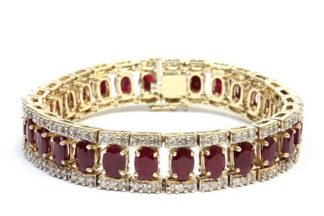14kt yellow gold, diamond & ruby bracelet