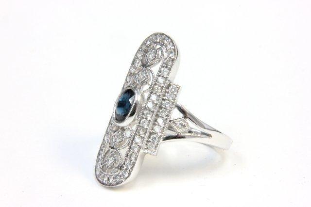 18kt white gold, diamond & sapphire dinner ring