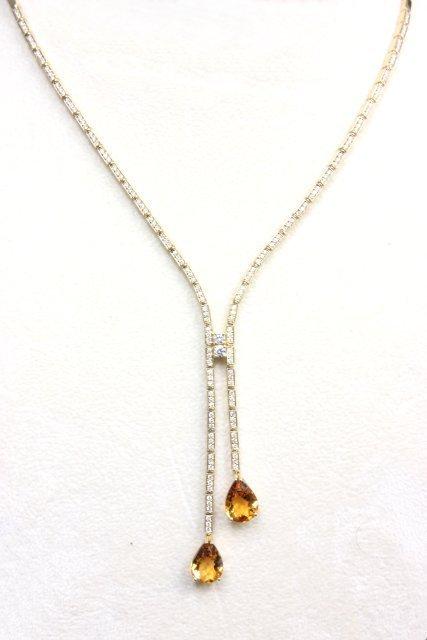 18kt yellow gold, diamond & citrine necklace