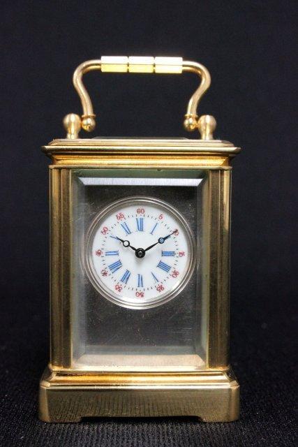 Silver dial mini carriage clock