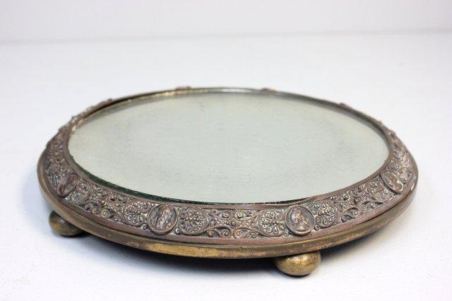 Antique figural bronze mirrored plateau
