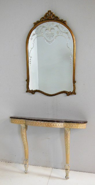 Paint decorated  hanging wall console & mirror