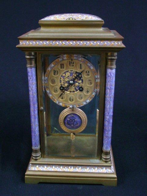 French enamel crystal regulator clock