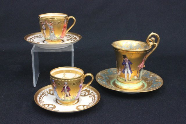 3 19th C Highly gilded Dresden cups & saucers