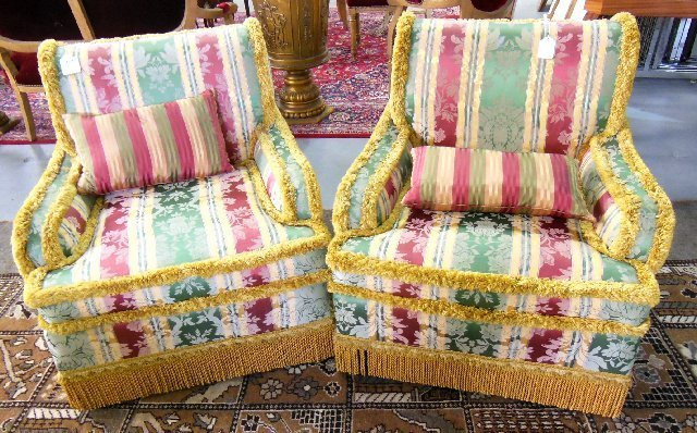 Pair new floral damask upholstered club chairs