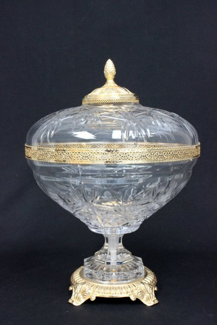 Brass mounted crystal covered punch bowl