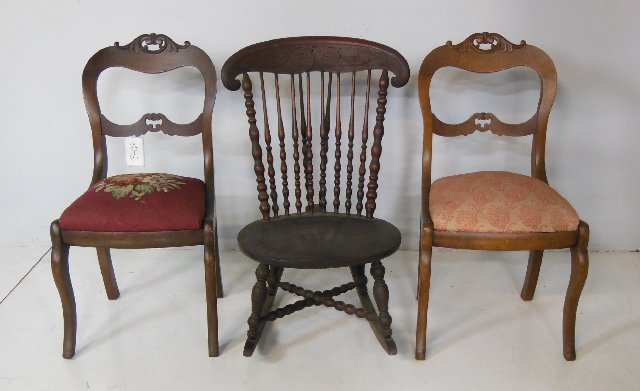 2 Victorian chairs & mahogany rocker