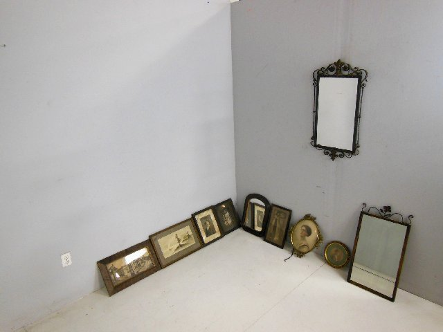 Group lot of 10 various pictures & mirrors