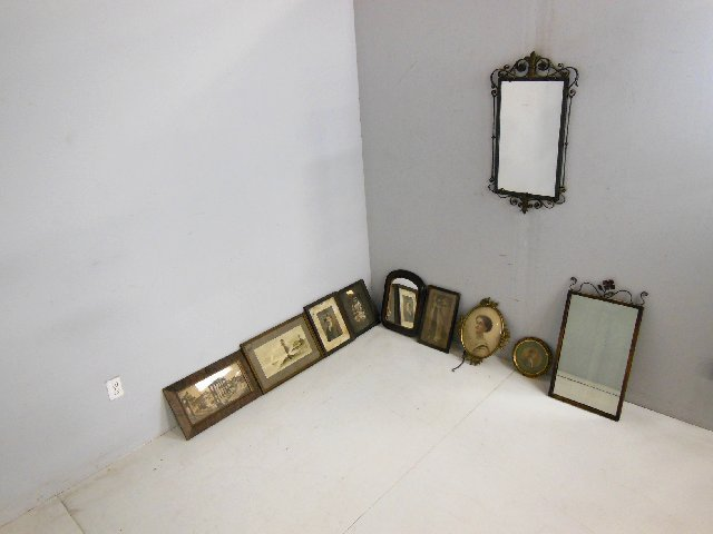 Group lot of 10 various pictures & mirrors - 2