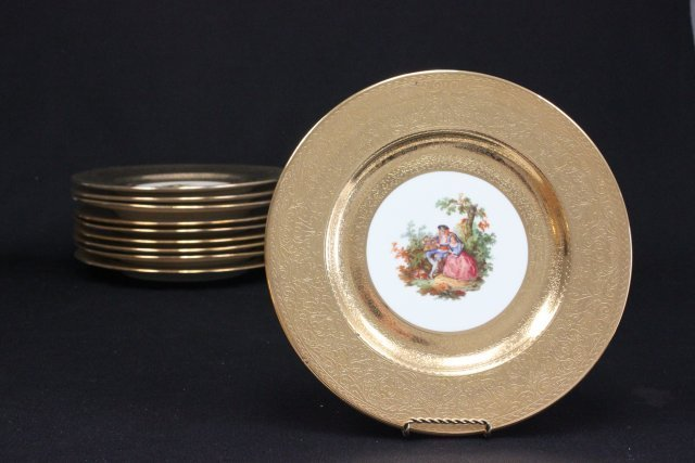 10 Limoges plates with gilt edges