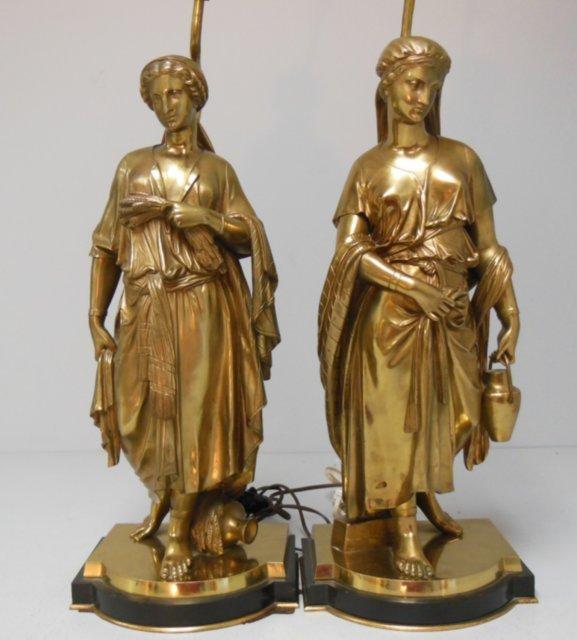 """Pair 19th c. dore bronze """"Classical Figures"""""""