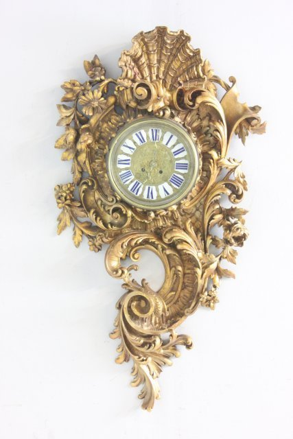 19th c. rococo giltwood heavily carved wall clock