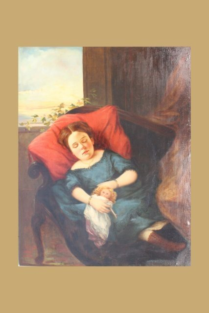 """Oil painting depicting """"Young Girl with Doll"""""""