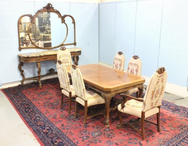Early 20thc French Dining Room table & 6 chairs